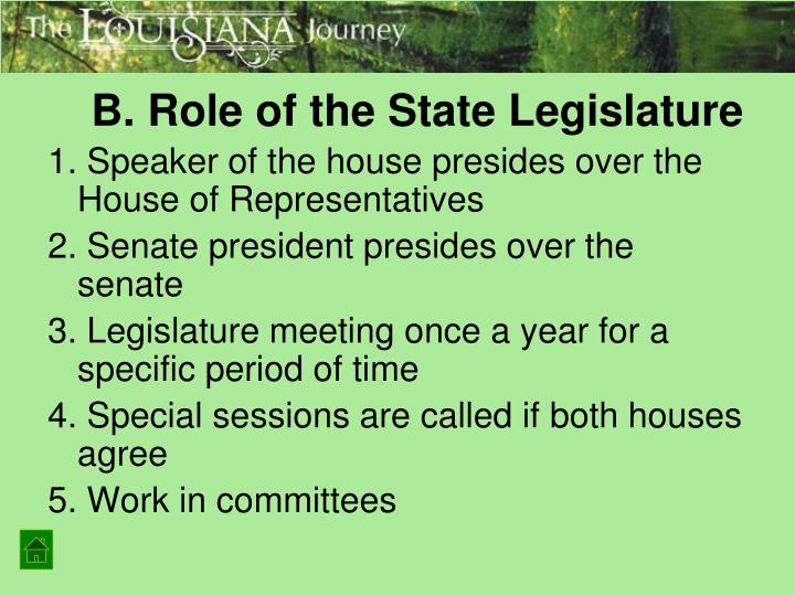 B. Role of the State Legislature