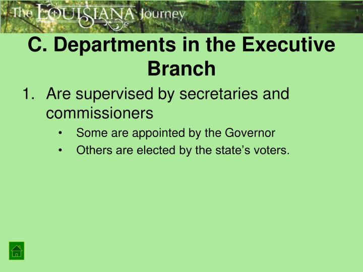 C. Departments in the Executive Branch