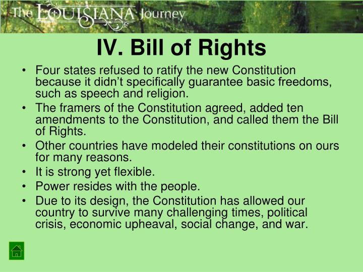 IV. Bill of Rights