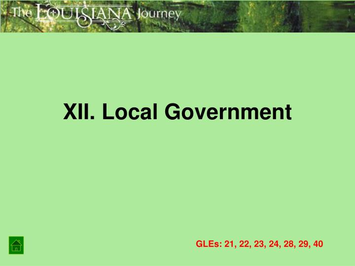 XII. Local Government