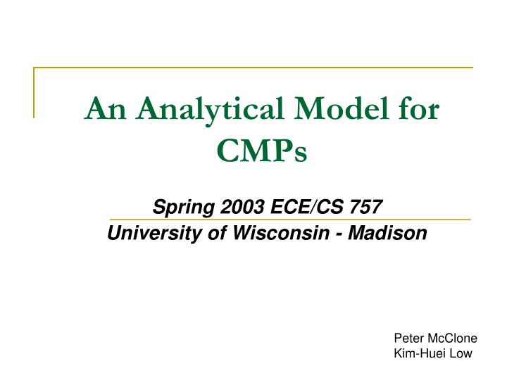 An Analytical Model for CMPs