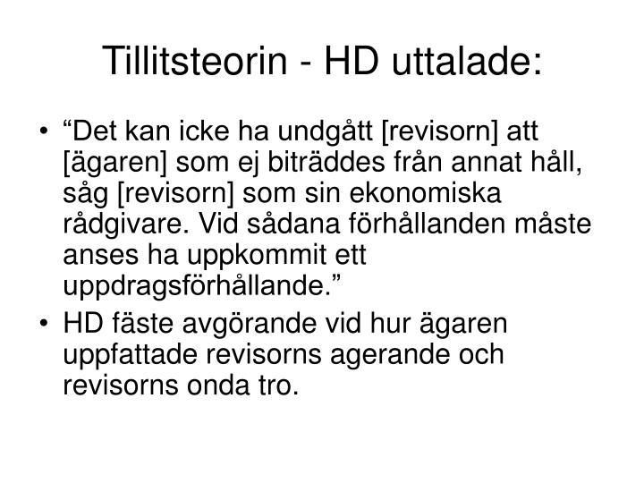 Tillitsteorin - HD uttalade: