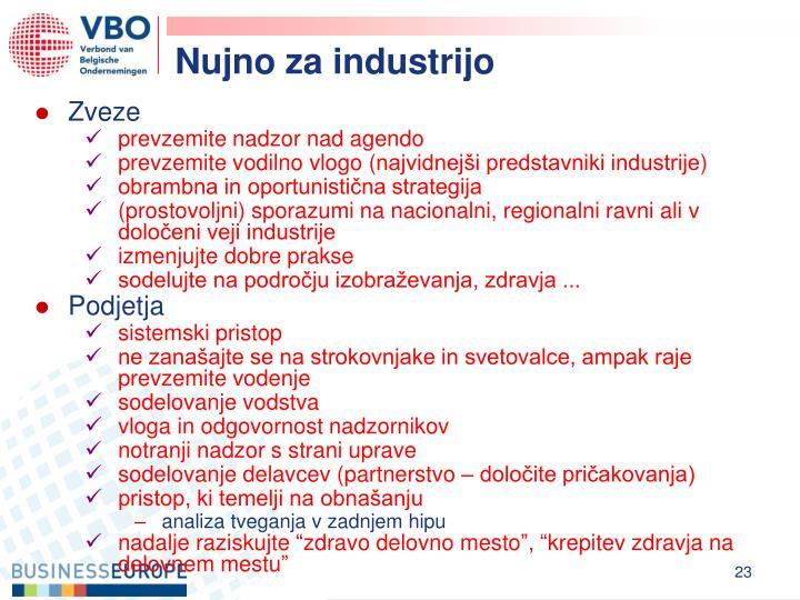 Nujno za industrijo