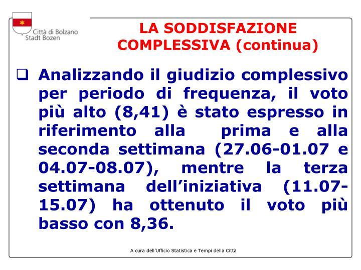 LA SODDISFAZIONE COMPLESSIVA (continua)