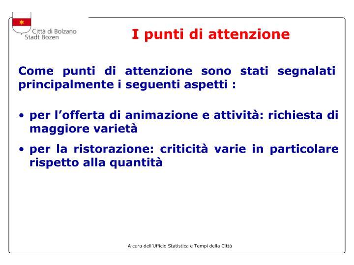 I punti di attenzione