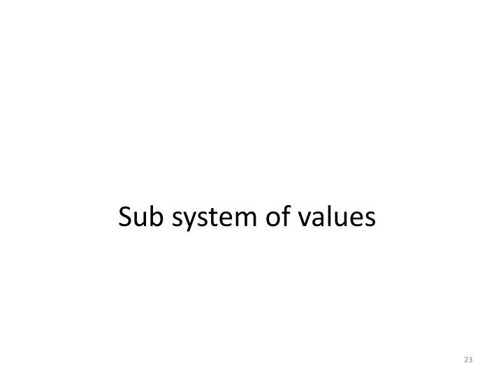 Sub system of values