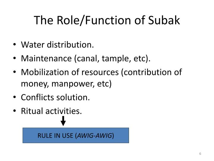 The Role/Function of Subak