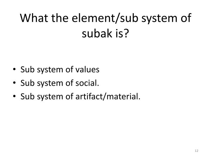 What the element/sub system of subak is?