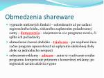 obmedzenia shareware