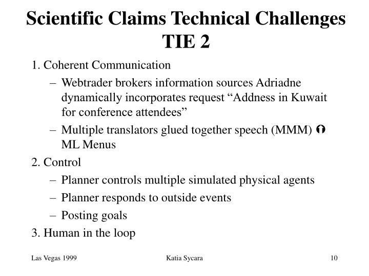 Scientific Claims Technical Challenges
