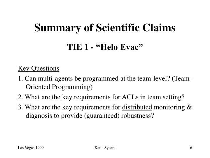 Summary of Scientific Claims