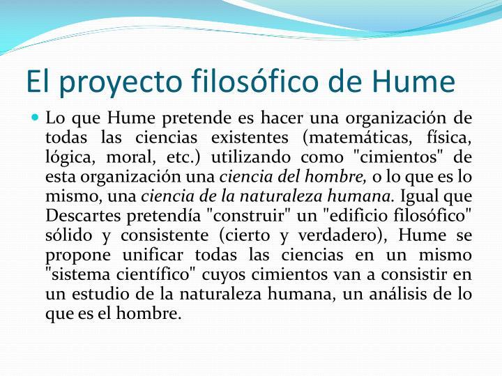 El proyecto filosófico de Hume