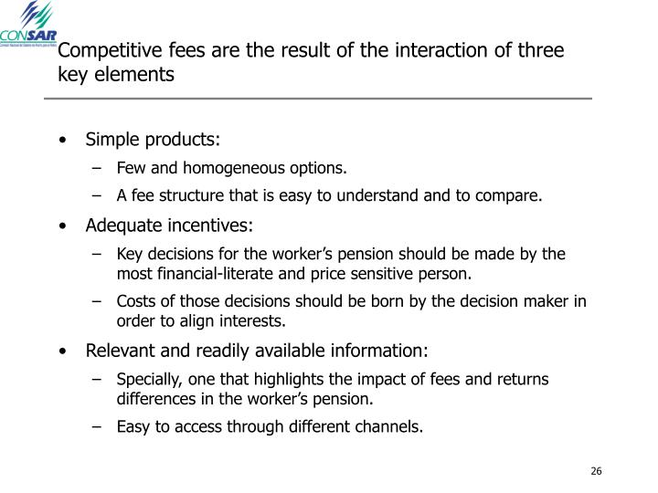 Competitive fees are the result of the interaction of three key elements