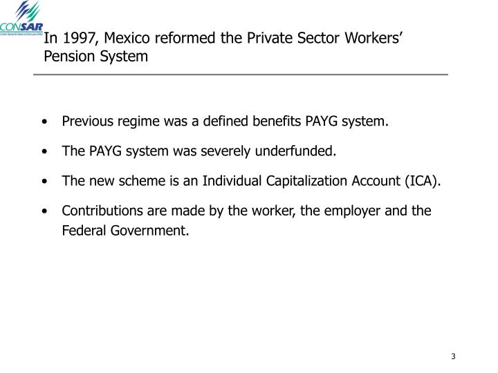 In 1997, Mexico reformed the Private Sector Workers' Pension System