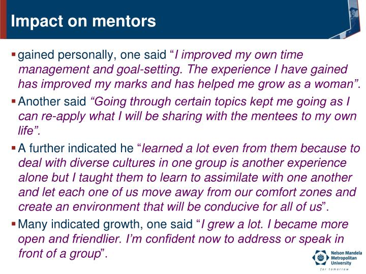 Impact on mentors