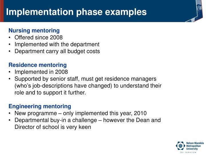 Implementation phase examples
