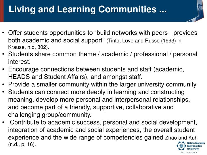 Living and Learning Communities ...