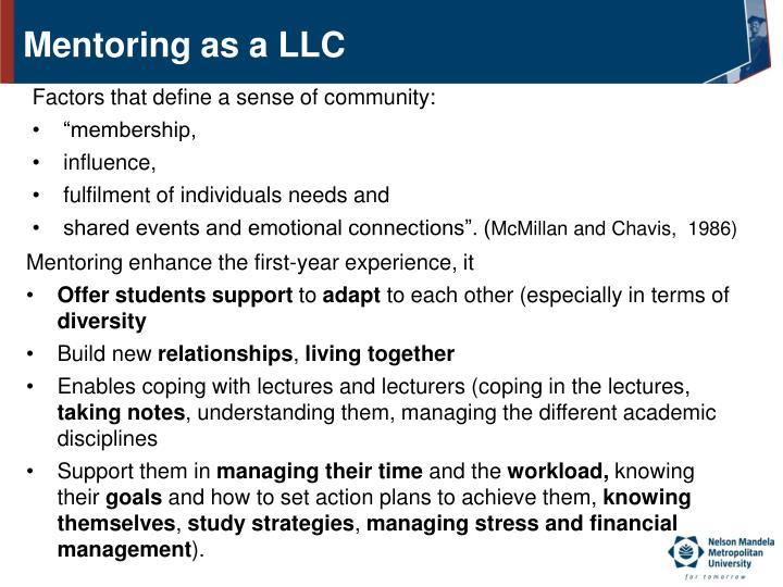 Mentoring as a LLC