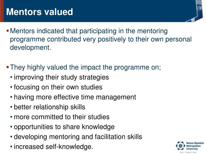 Mentors valued