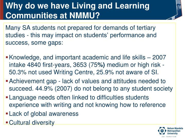 Why do we have Living and Learning Communities at NMMU?