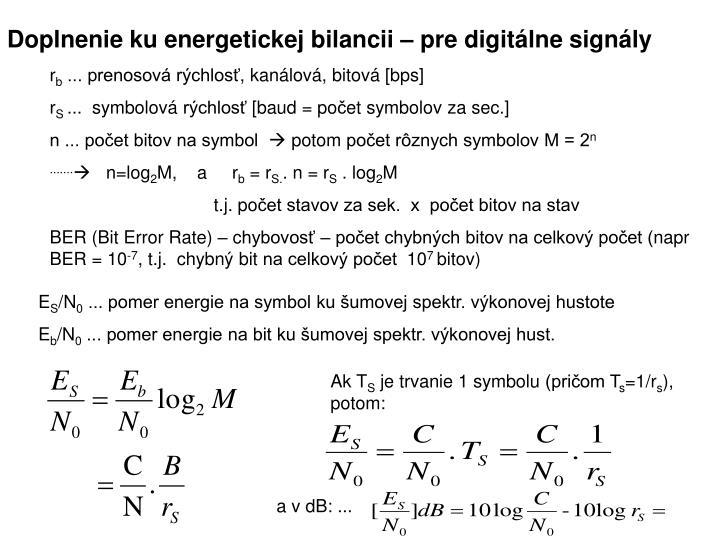 Doplnenie ku energetickej bilancii – pre digitálne signály