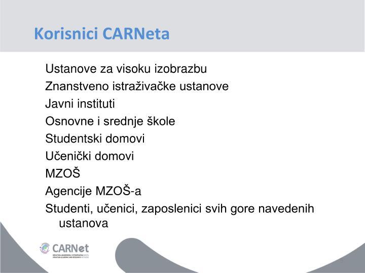 Korisnici CARNeta