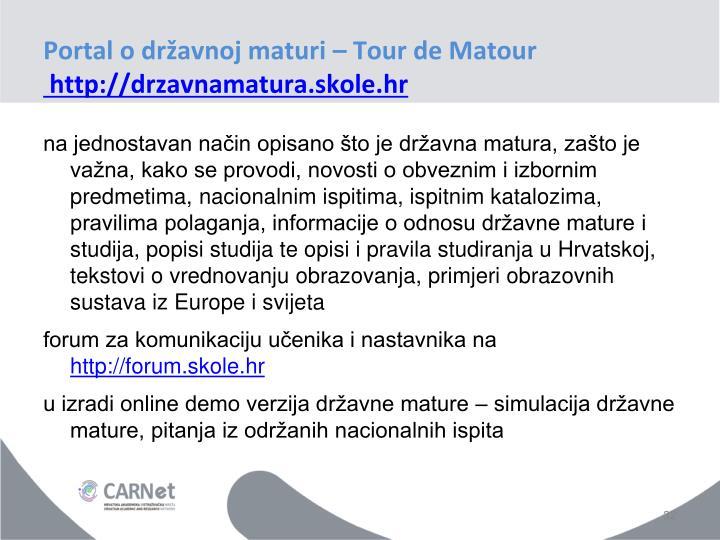 Portal o državnoj maturi – Tour de Matour