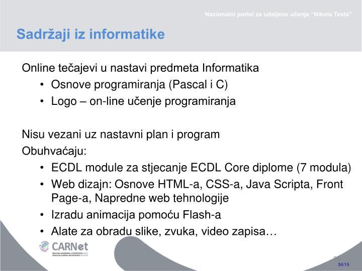 Sadržaji iz informatike