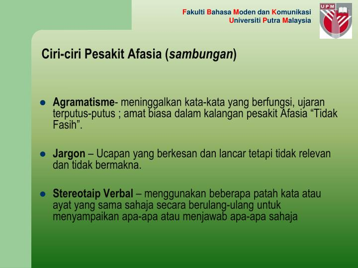 Ciri-ciri Pesakit Afasia (