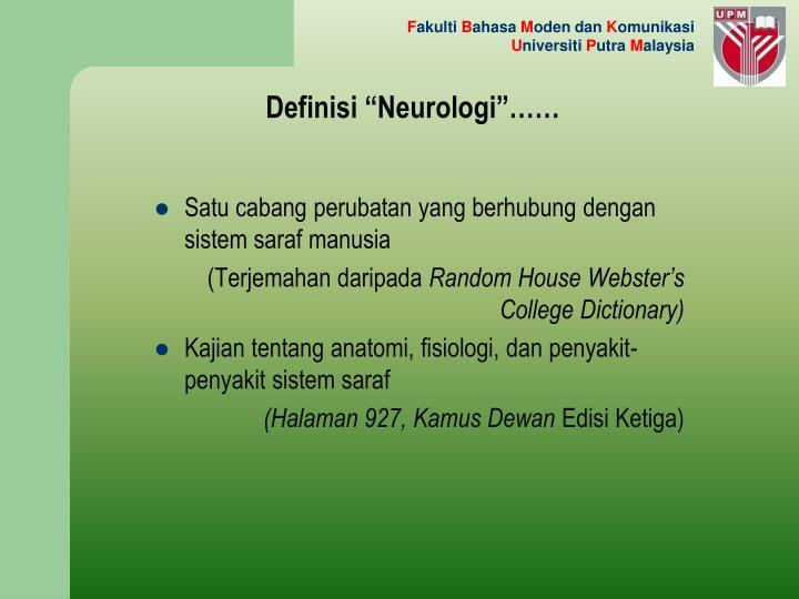 """Definisi """"Neurologi""""……"""