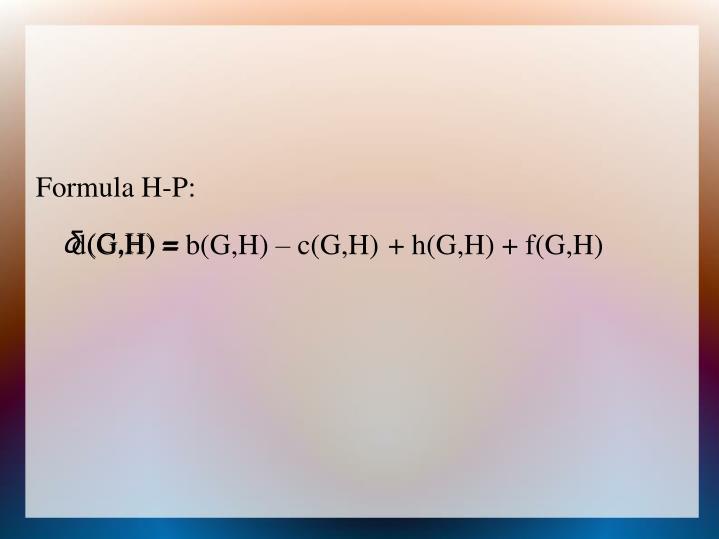 Formula H-P: