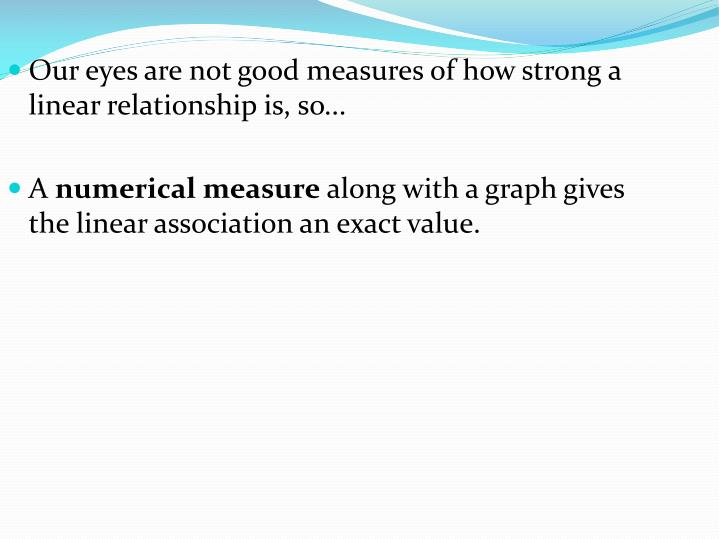 Our eyes are not good measures of how strong a linear relationship is, so...