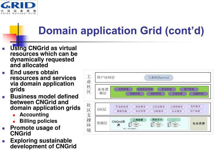 Domain application Grid (cont'd)