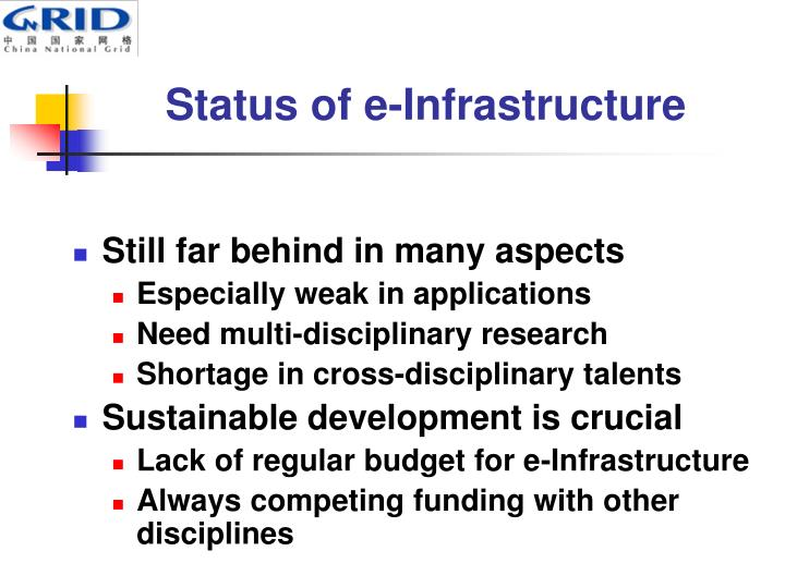 Status of e-Infrastructure