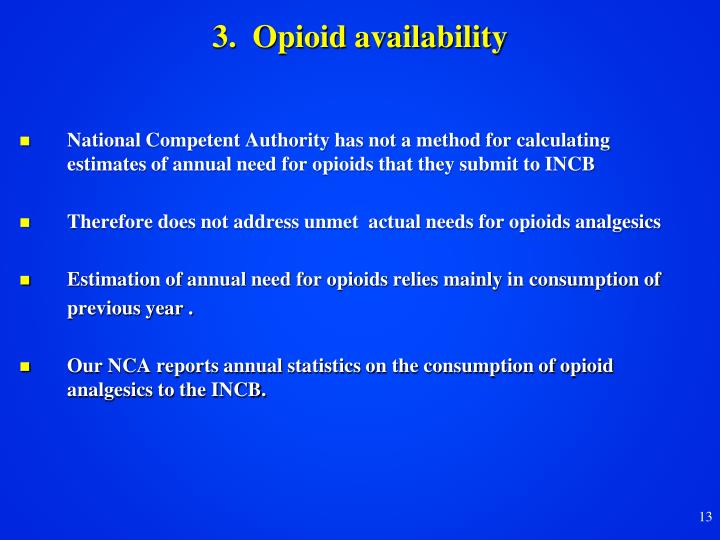 3.  Opioid availability