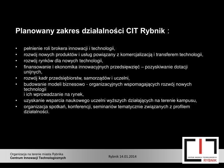 Planowany zakres działalności CIT Rybnik