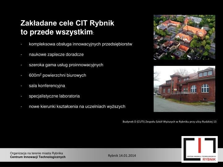 Zakładane cele CIT Rybnik