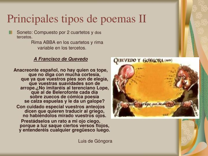 Principales tipos de poemas II