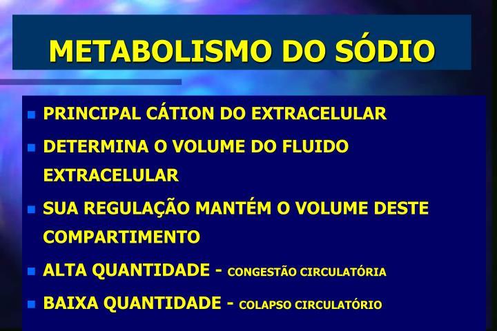 METABOLISMO DO SÓDIO