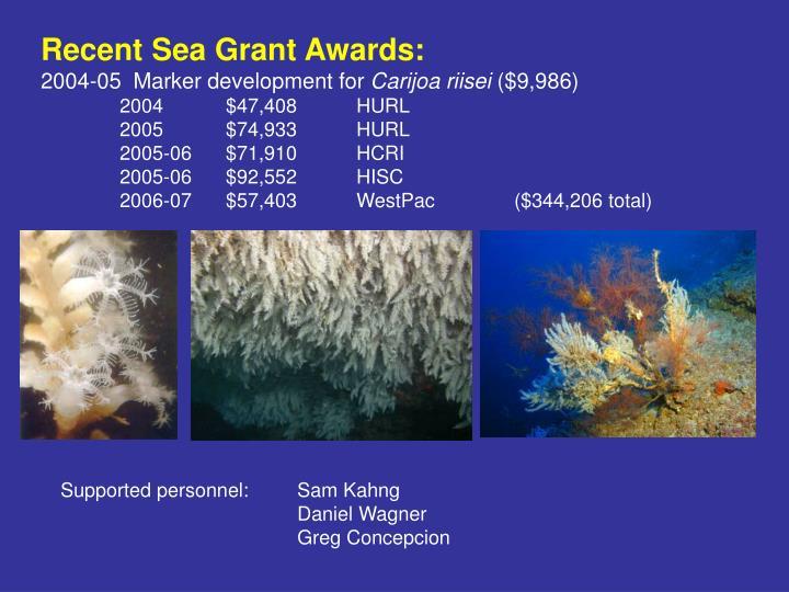 Recent Sea Grant Awards: