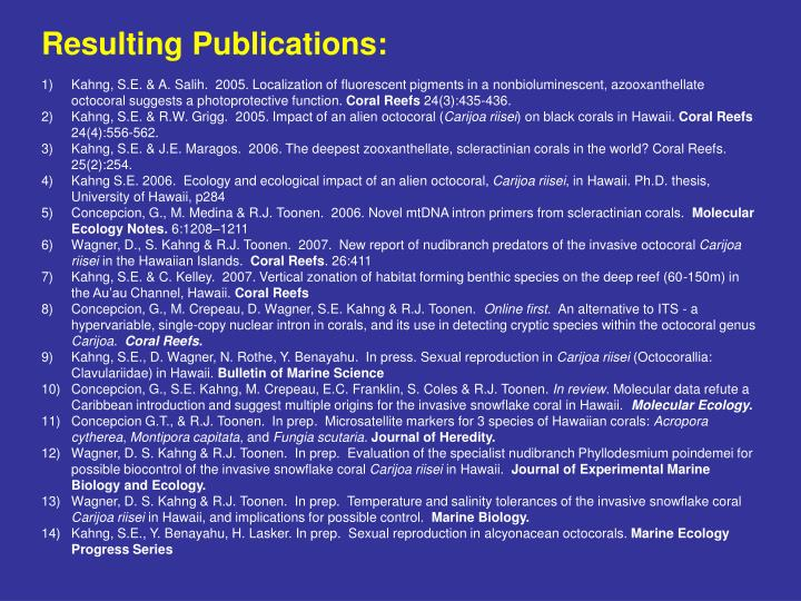 Resulting Publications: