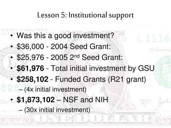 Lesson 5: Institutional support
