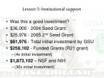 lesson 5 institutional support