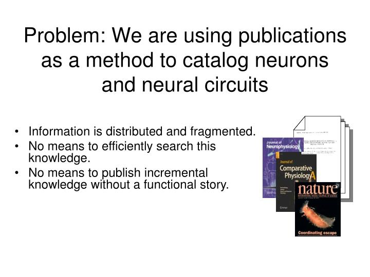Problem: We are using publications as a method to catalog neurons and neural circuits