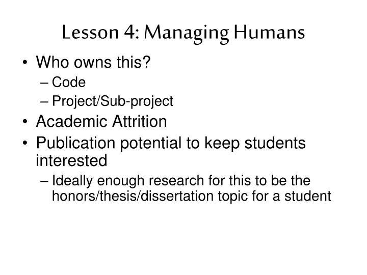 Lesson 4: Managing Humans