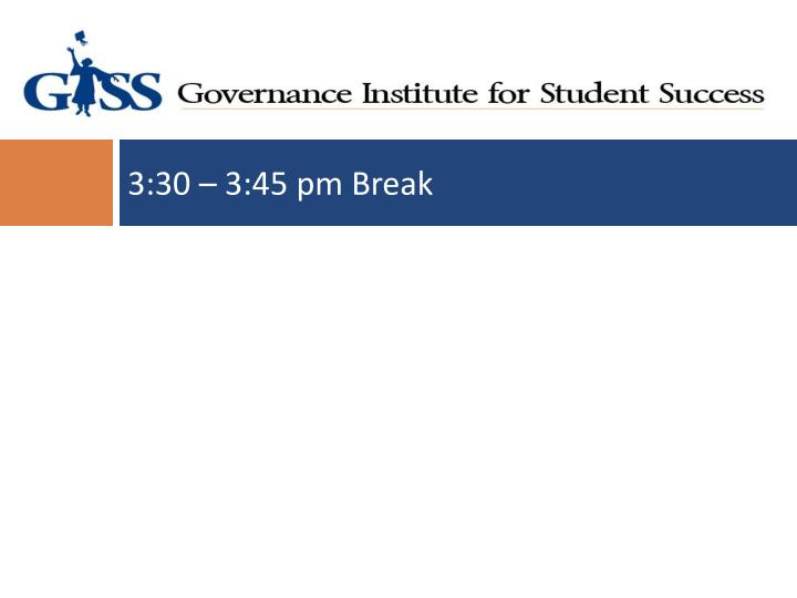 3:30 – 3:45 pm Break