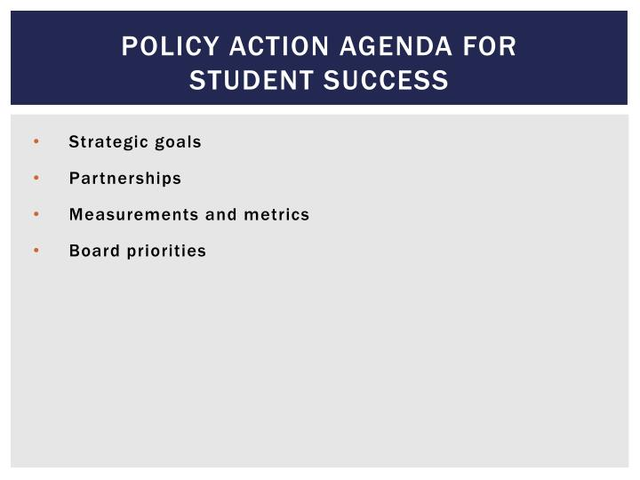 Policy action agenda for