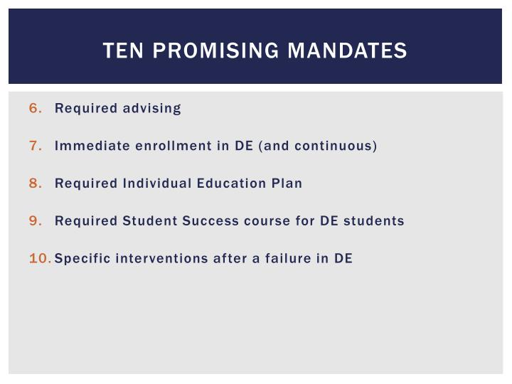 Ten Promising Mandates