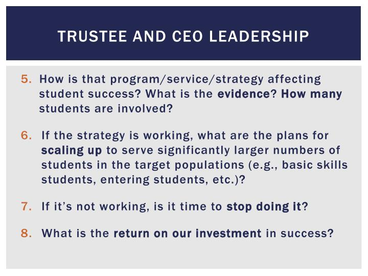 Trustee and ceo leadership
