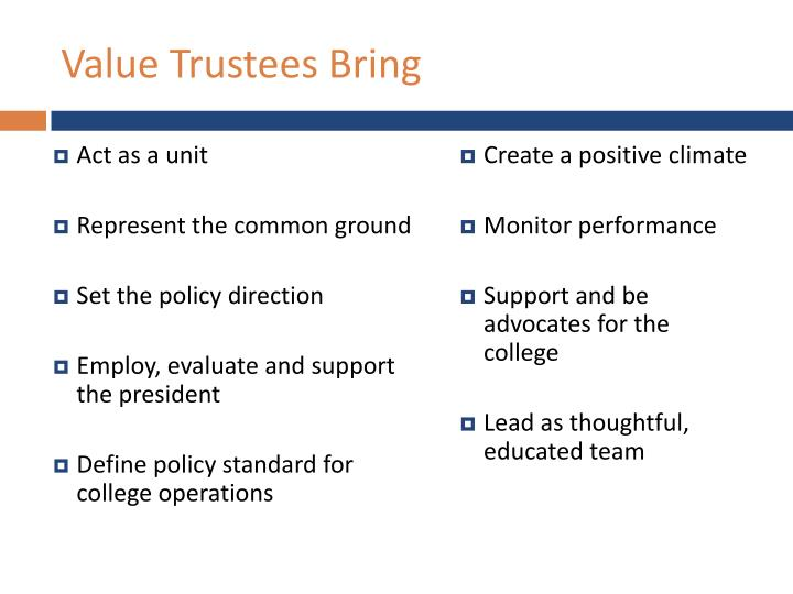 Value Trustees Bring
